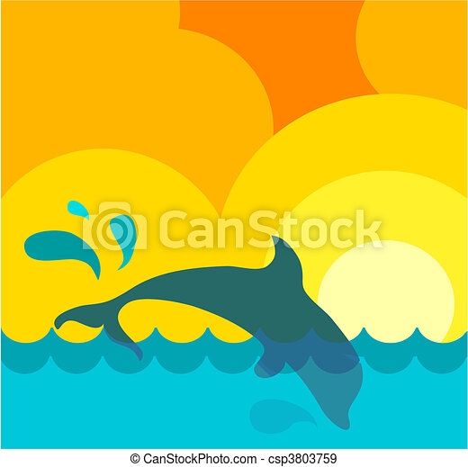 Abstract representation of a wavy sea under the sun with jumping dolphin - csp3803759