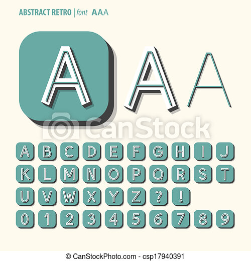 Abstract Retro Alphabet and Digit Vector - csp17940391