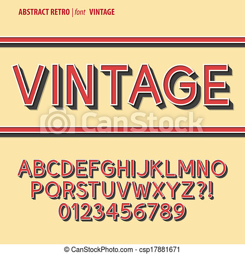 Abstract Retro Alphabet and Digit Vector - csp17881671