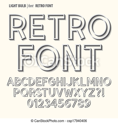 Abstract Retro Alphabet and Digit Vector - csp17940406