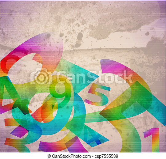 Abstract retro background with numbers - csp7555539
