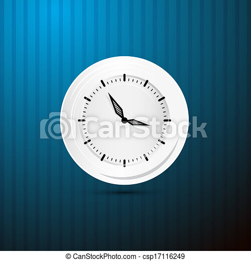 Abstract Retro Vector Paper Clock on Blue Background  - csp17116249