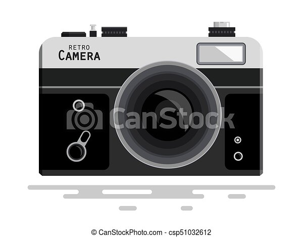 Abstract Retro Vector Photo Camera Isolated on White Background - csp51032612