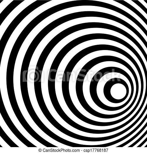 Abstract Ring Spiral Black and White Pattern Background. - csp17768187