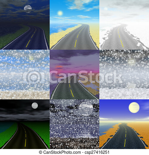 Abstract road landscape generated background - csp27416251