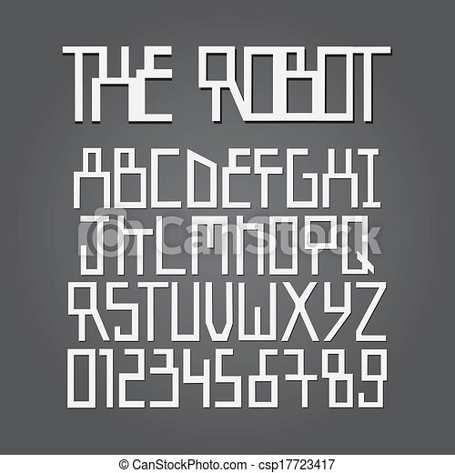 Abstract Robot Alphabet and Digit Vector - csp17723417