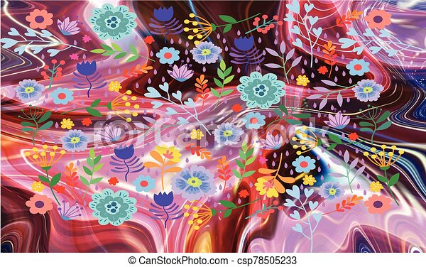 abstract roses and flowers on liquid background - csp78505233
