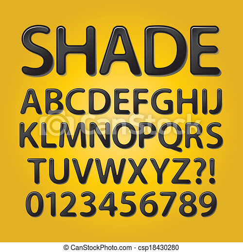 Abstract Rounded Black Shade Font - csp18430280