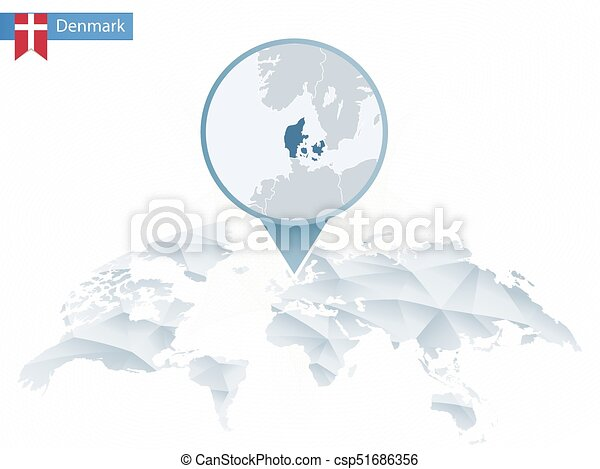 Abstract Rounded World Map With Pinned Detailed Denmark Map Map And