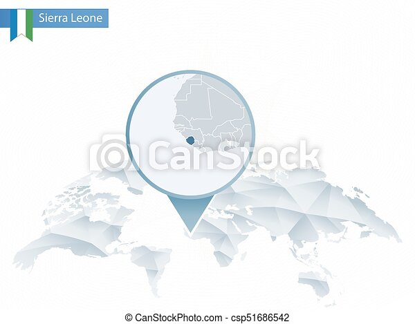 Abstract Rounded World Map With Pinned Detailed Sierra Leone Map