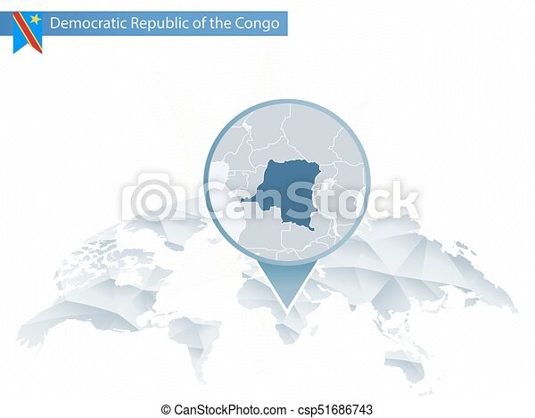Abstract Rounded World Map With Pinned Detailed Democratic Republic