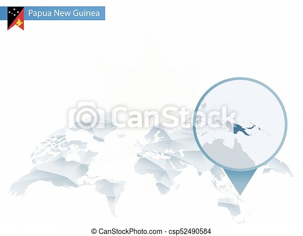 Abstract rounded world map with pinned detailed papua new guinea map ...