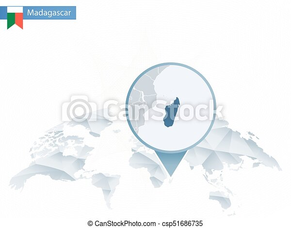 Abstract rounded world map with pinned detailed madagascar map ...