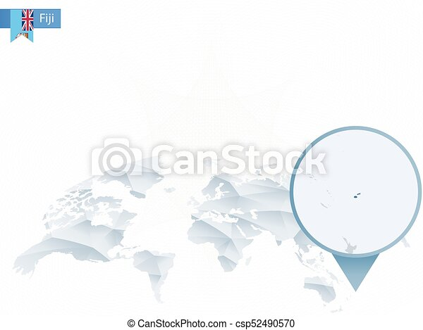 Abstract rounded world map with pinned detailed fiji map. vector ...