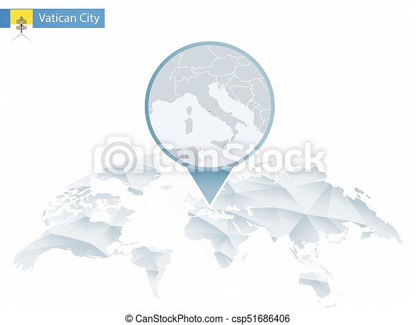 Vatican City On World Map.Abstract Rounded World Map With Pinned Detailed Vatican City Map