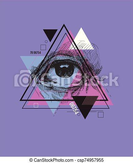 Abstract sacred geometrical symbol. - csp74957955