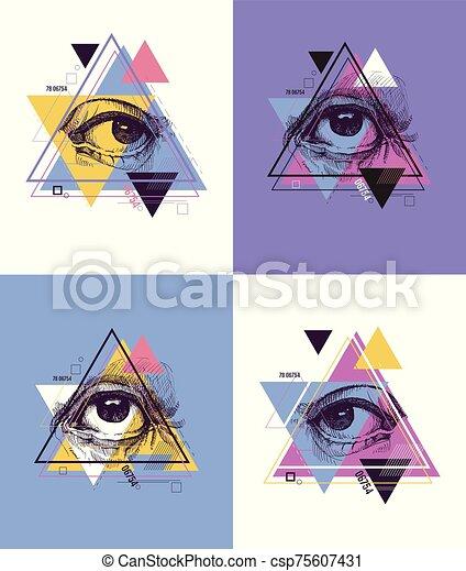 Abstract sacred geometrical symbol. - csp75607431