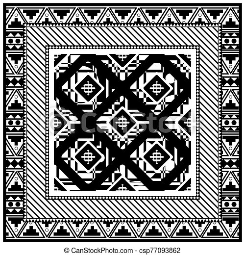 Abstract scarf design pattern-vector illustration. Hijab pattern in the frame of a square. Monochrome colors, geometric shapes with different spot point textures. - csp77093862
