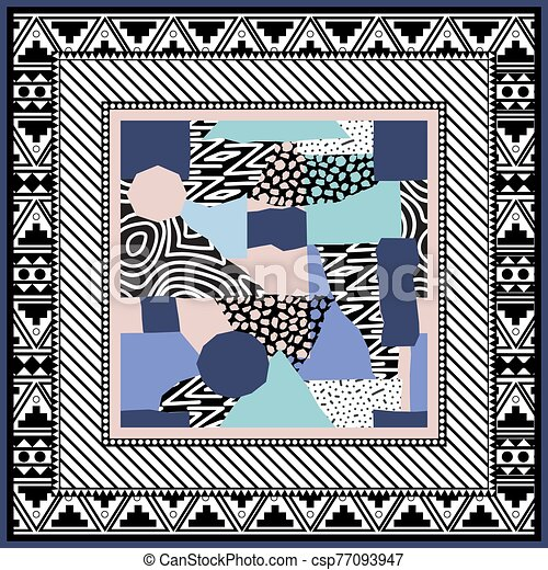 Abstract scarf design pattern-vector illustration. Hijab pattern in the frame of a square. Designed in the style of Memphis. Delicate pink and menthol color - csp77093947