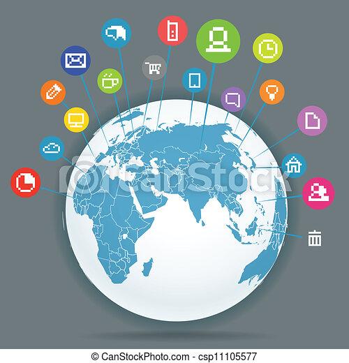 Abstract scheme of social media network - csp11105577