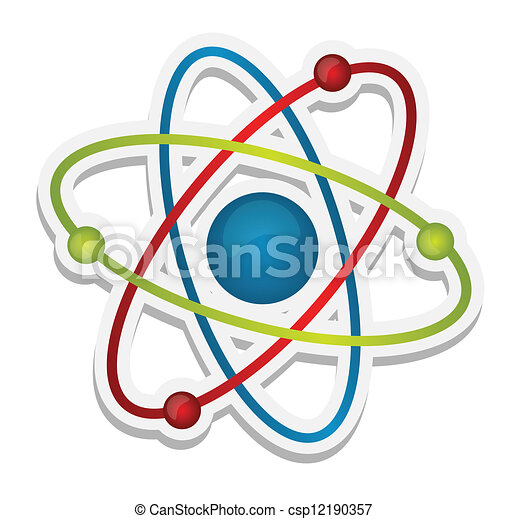 abstract science icon of atom - csp12190357