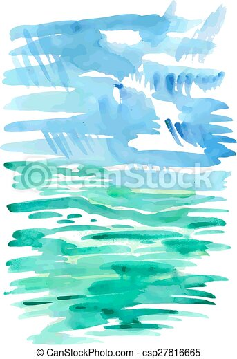 Abstract sea watercolor background - csp27816665