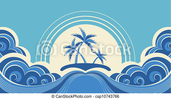 Abstract sea waves. Vector illustration of tropical palms on island - csp10743766