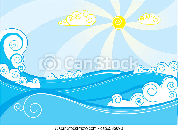 Abstract sea waves. Vector illustration on blue white - csp6535090