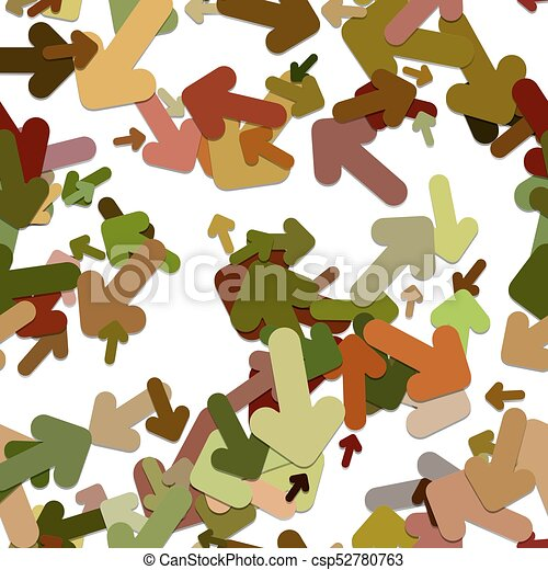Abstract seamless arrow background pattern - vector illustration from rotated rounded arrows with shadow effect - csp52780763
