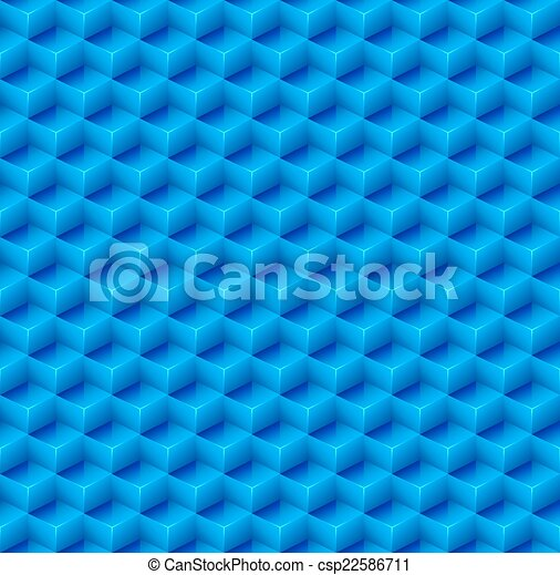 Abstract Seamless Blue Cube Background. Vector - csp22586711