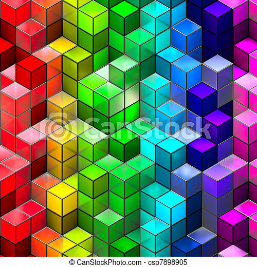 Abstract seamless cube background - csp7898905