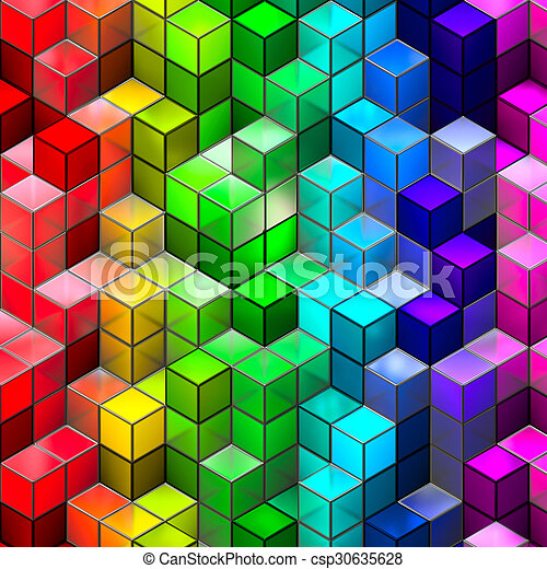 Abstract seamless cube background - csp30635628
