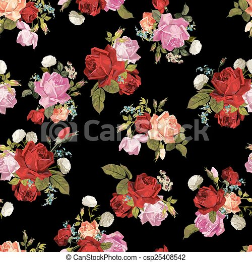 Abstract Seamless Floral Pattern With White Pink Red And Orange Roses On Black Background