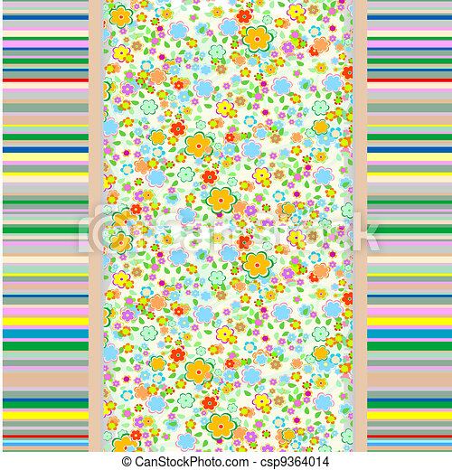 Abstract seamless flowers background - csp9364014