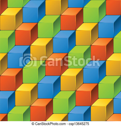 Abstract seamless pattern of cubes. - csp13645275
