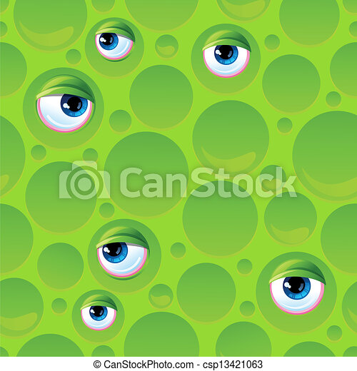 Abstract seamless pattern with bubbles and eyes. - csp13421063