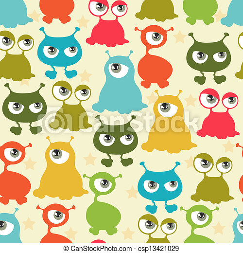 Abstract seamless pattern with cute monsters. - csp13421029