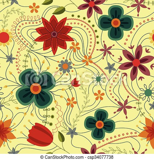 Abstract seamless pattern with flowers retro - csp34077738