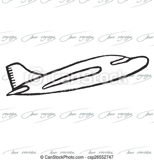 Abstract seamless pattern with plane. Bon Voyage design - csp26552747