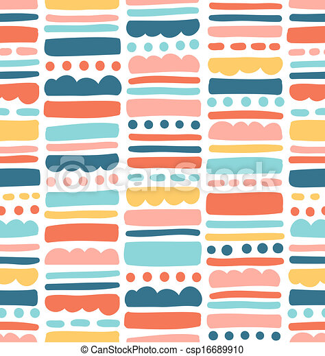 Abstract seamless pattern with stripes and dots - csp16689910