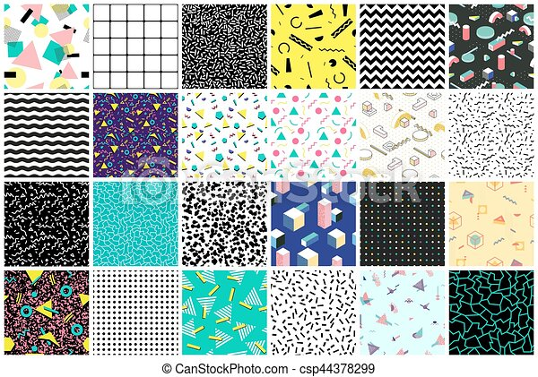 Abstract seamless patterns 80's-90's styles. - csp44378299