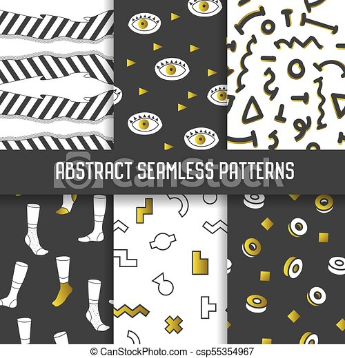 Abstract Seamless Patterns Set Hipster Style Geometric Memphis
