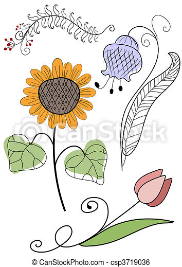 abstract, set, handwork, bloemen - csp3719036