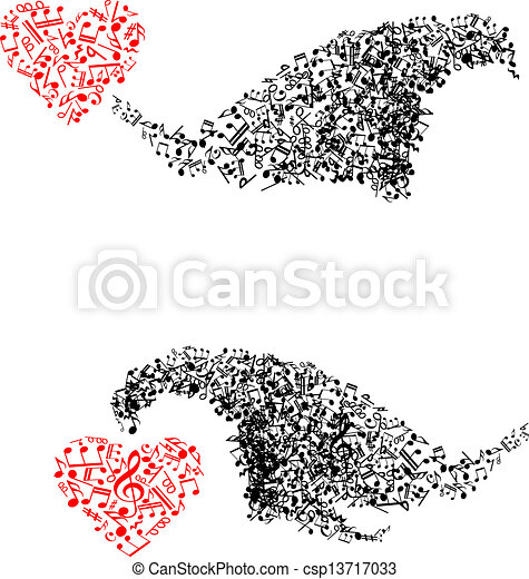 Abstract shapes with musical notes and hearts - csp13717033