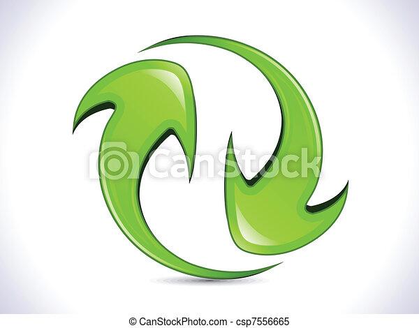 abstract shiny green refresh icon - csp7556665