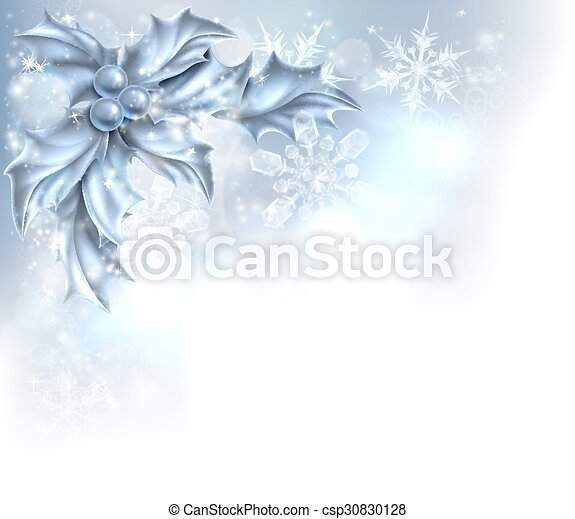 Abstract Silver Christmas Holly Background - csp30830128