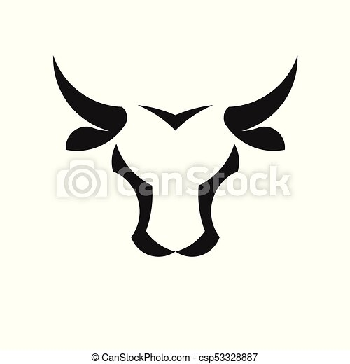 abstract simple Bull head vector logo - csp53328887