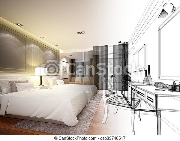 abstract sketch design of bedroom
