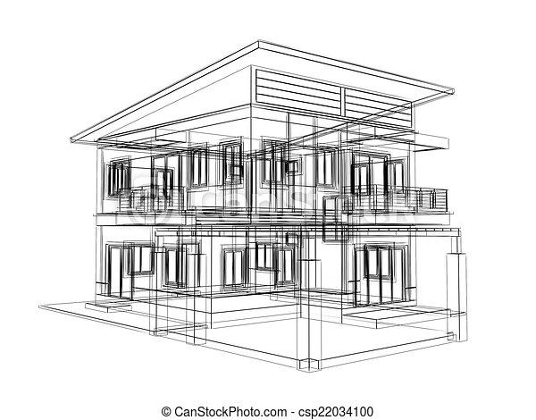 Abstract Sketch Design Of House 3dwire Frame Render Stock