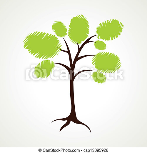 abstract sketch green tree - csp13095926
